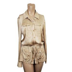 Cache fancy  silk blend snap button tunic size S